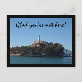 Glad you're not here! postcards