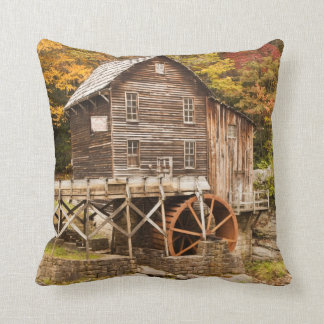 Glade Creek Grist Mill, Babcock State Park, 2 Throw Pillow