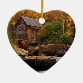 Glade Creek Grist Mill Double-Sided Heart Ceramic Christmas Ornament