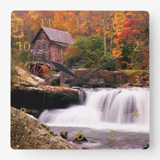 Glade Creek Grist Mill Square Wall Clock
