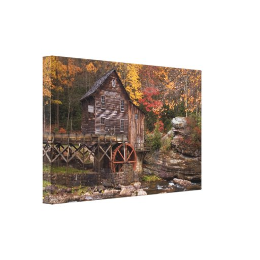 Glade Creek Grist Mill Stretched Canvas Print