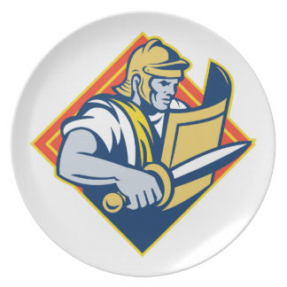 Gladiador con la espada y el escudo plato de cena