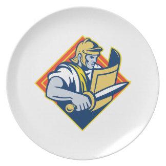 Gladiador con la espada y el escudo platos de comidas