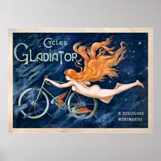 Gladiador de los ciclos por el vintage de Jorte Póster