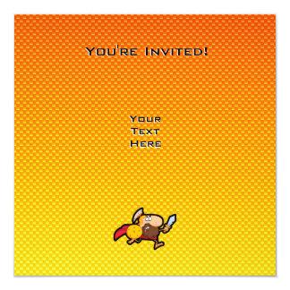 """Gladiador espartano amarillo-naranja invitación 5.25"""" x 5.25"""""""
