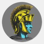 Gladiador romano gráfico pegatinas redondas