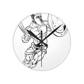 Gladiador romano reloj redondo mediano