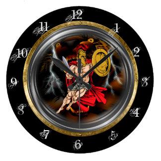 Gladiador y tigres reloj redondo grande