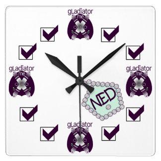 gladiador yo reloj de pared cuadrado de NED de la