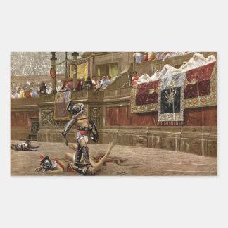 Gladiadores romanos antiguos rectangular pegatinas