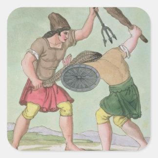 """Gladiadores romanos, de """"L'Antica Roma"""", 1825 Calcomanía Cuadradas"""