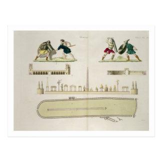 Gladiadores y un plan del circo de Caracalla, Tarjetas Postales