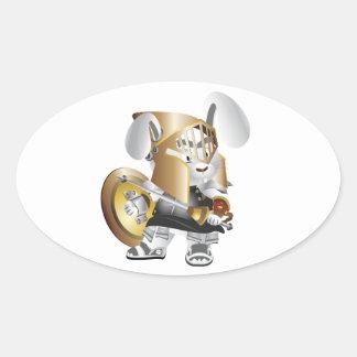 Gladiator Bunny Oval Sticker