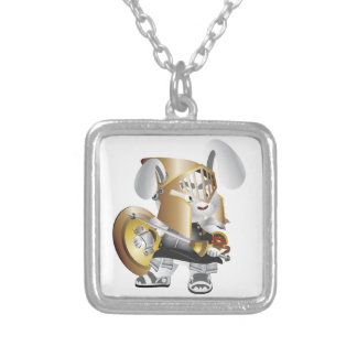Gladiator Bunny Square Pendant Necklace