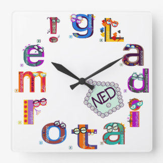 gLadiator me cLean sLate NED Square WaLL CLock 2