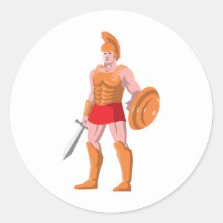 gladiator roman centurion warrior standing classic round sticker