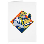 Gladiator With Sword And Shield Greeting Card