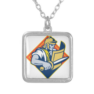 Gladiator With Sword And Shield Square Pendant Necklace