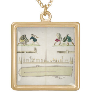 Gladiators and a plan of the circus of Caracalla, Square Pendant Necklace
