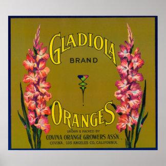 Gladiola Brand Citrus Crate Label Poster