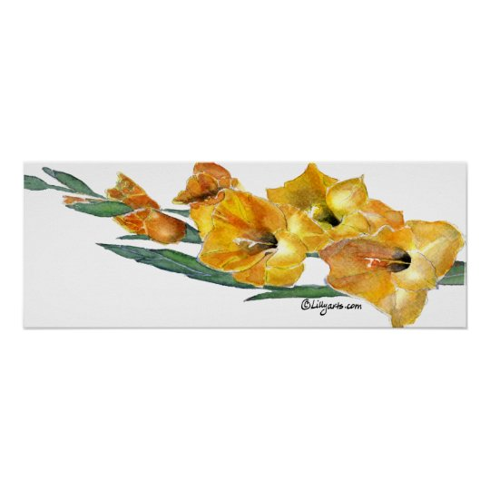 Gladiola Watercolor Painting Print