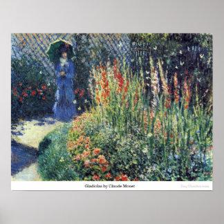 Gladiolas by Claude Monet Poster