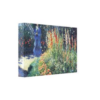 Gladiolas de Claude Monet Lona Envuelta Para Galerías