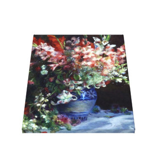 Gladiolas in a Vase by Renoir Wrapped Canvas