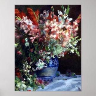 Gladiolas in a Vase, Pierre Auguste Renoir Art Poster