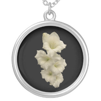 Gladiolas Round Pendant Necklace