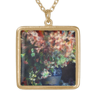 Gladioli in a Vase Pierre Auguste Renoir painting Personalized Necklace