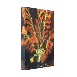 Gladiolos rojos de Vincent van Gogh Impresión En Lona