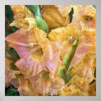 Gladiolus Moods - Yellow Art Poster/Print Poster