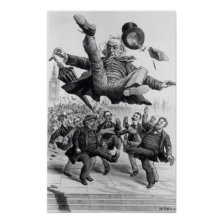 Gladstone being kicked out of parliament, c.1894 poster