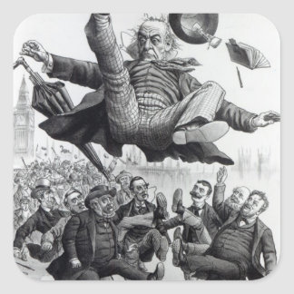Gladstone being kicked out of parliament, c.1894 square sticker