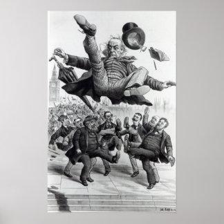 Gladstone que es golpeado con el pie del parlament póster