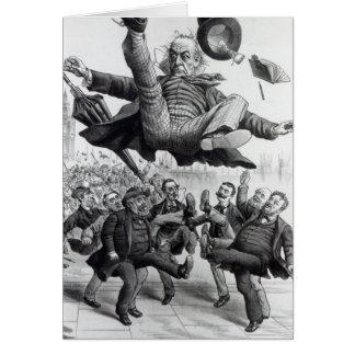 Gladstone que es golpeado con el pie del parlament tarjeta de felicitación