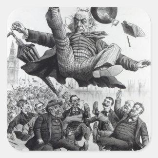 Gladstone que es golpeado con el pie del pegatina cuadrada