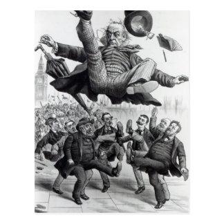 Gladstone que es golpeado con el pie del tarjeta postal