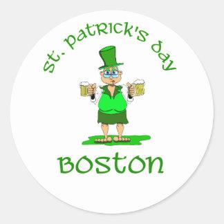 gladys de Boston del día de los patricks del st Pegatina Redonda
