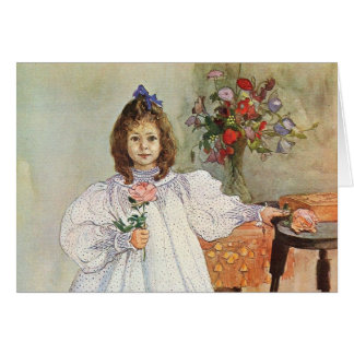 Gladys Holding a Pink Rose Greeting Card