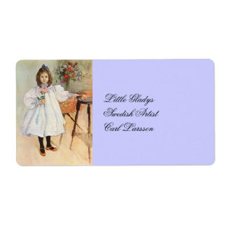 Gladys Holding a Pink Rose Shipping Label