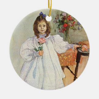 Gladys Holding a Pink Rose Double-Sided Ceramic Round Christmas Ornament
