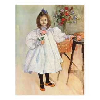 Gladys Holding a Pink Rose Postcard