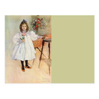 Gladys Holding a Pink Rose Postcard