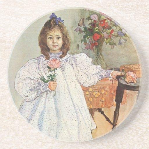 Gladys que sostiene un color de rosa rosado posavasos personalizados