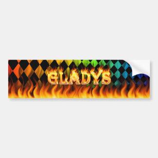 Gladys real fire and flames bumper sticker design. car bumper sticker