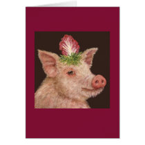 Gladys the pig greeting card
