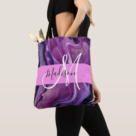 Glam Abstract Purple Shimmer Texture Pink Monogram Tote Bag