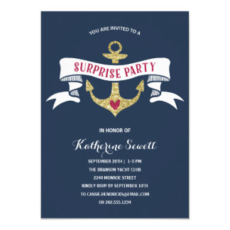 Glam Anchor | Nautical Surprise Birthday Party Card